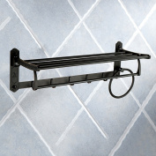 American Style Black Towel Rack Space Aluminium Carved Flowers Items Placed Shelves Towel Lever Have Hook Up 60cm