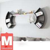 DZW Living Room Creative Fan Wall Shelves Bedroom Wall Bookshelves Lattice Shelves Partition Study Wall Hanging Shelf, 74.5 * 34cm, More Combinations , m combo,Simple