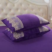 Pillowcases,Pillowcover,Crystal velvet pillowcase [Coral velvet pillowcase] Comfortable warm lace pillowcases and Crystal velvet pillow cover-I 48x74cm