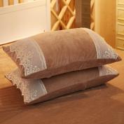 Pillowcases,Pillowcover,Crystal velvet pillowcase [Coral velvet pillowcase] Comfortable warm lace pillowcases and Crystal velvet pillow cover-G 48x74cm