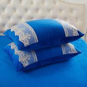 Pillowcases,Pillowcover,Crystal velvet pillowcase [Coral velvet pillowcase] Comfortable warm lace pillowcases and Crystal velvet pillow cover-A 48x74cm