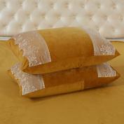 Pillowcases,Pillowcover,Crystal velvet pillowcase [Coral velvet pillowcase] Comfortable warm lace pillowcases and Crystal velvet pillow cover-D 48x74cm