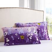 Pillowcases,Pillowcover, adult flannel pillowcase student by black velvet pillow cover single coral fleece pillow-K 48x74cm