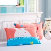Pillowcases,Pillowcover, adult flannel pillowcase student by black velvet pillow cover single coral fleece pillow-N 48x74cm