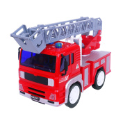 Friction Fire Truck, Slideable Ladder Vehicle Model Car Toy with Scale 1:18, Gift for Kids And Toddlers