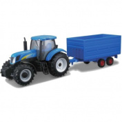 "Bburago B18-111910cm New Holland T7000 Farm Tractor and Trailer"" Model Toy, 1:32 Scale"