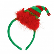 Santa's Helper Elf Hat on a Headband Fluffy with Bell