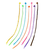 21 Pieces Nylon Braided Hair Neon Hair Braid Extensions Attachments with Neon Clip Snaps for Birthday Party Favours and Children Performance, 7 Colours