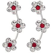 Sterling Silver CZ Flower Ear Climber Earrings
