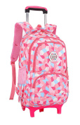 Fanci Geometric Figure Kids Rolling School Backpack Waterproof Nylon Trolley Carry on Luggage With Two Wheels