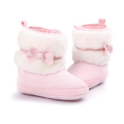 Baby Boy Girl Toddler Soft Sole Walking Shoes Mingfa Winter Bowknot Anti-slip Infant Toddler Snow Boots(0~18Months)
