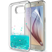 Galaxy S6 Phone Case Samsung S6 Glitter Cases with HD Screen Protector for Girls Women,LeYi Luxury Cute Shiny Liquid Moving Quicksand Clear TPU Shockproof Cover Case for Samsung Galaxy S6 ZX Turquoise