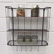 Industrial Style Vintage Wall Metal Shelf Coat Hooks Rack Storage Cabinet Unit