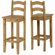Corona Pair Of Breakfast Bar Chairs-Distressed Mexican Pine Kelsey Stores