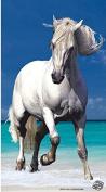 Beach Towel with Horse 175 cm white