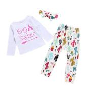 Big Little Sister Matching Clothes, Woopower 3pcs Girl Autumn Winter Bow Cotton Long-sleeved T-shirt + Pants + Headband