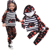 Girl Floral Stripe Outfits,Woopower Long Sleeve Hoodie Tops+Long Pants Clothes,For 0-24M