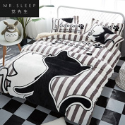 Thick warm Flannel 4-piece coral cashmere winter of 1.5m1.8m bedding, plush linens, 喵 was set by a parking ,1.5m [5 ft] Bed