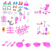 Hotsellhome 98 PCS Doll Accessories Toys Princess Styling Head Doll Playset New