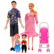 CALISTOUS 6Pcs Family Pregnant Doll Mom Baby Dad Kids Barbie Dolls Set