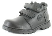Wynsors New Infants Boys Touch Fastening Leather Look Boots Chunky Grip Sole - Black - UK Sizes 1-13