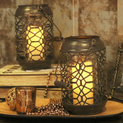 Valery Madelyn Woodland Christmas Candle Holder with Handle, Modern Geometrical Bronze Hanging Candle Lantern with Irregular Pattern, Detachable Cylindrical Glass Set Inside