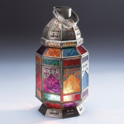Large Moroccan Style Tonal Multi Colour Glass Octagonal Lantern