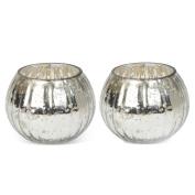 Pair of Small Globe Tea Light Holders - Silver