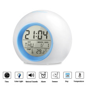 HAMSWAN 7 Colours Changing Digital Alarm Clock Nature Sounds One Tap Control Sleep-Friendly with Indoor Temperature Display for Working Parents, Students etc