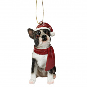 Design Toscano Holiday Dog Ornament Sculpture - Boston Terrier