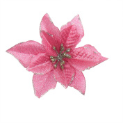 6Pcs 13cm Glitter Artificial Flowers For Wedding Christmas Festival Decor Ornament Pink