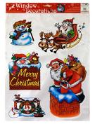 Santa and Snowmen Christmas Festive Window Clings 5 Clings