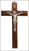 23cm St Saint Benedict Wood Crucifix Cross Metal Inlay Silver Coloured Metal Corpus Wall Hanging 10622