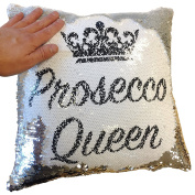 Prosecco Queen Funny Magic Cushion Cover - Silver Sequin - gift for those ladies who love prosecco