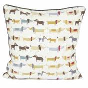 Textile Online 100% Cotton Printed Decorative Cushion Cover Pillowcase Design Weiner Dog Size 46cm x 46cm