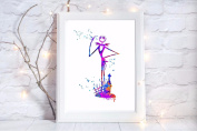 nightmare before christmas a4 xmas glossy print poster UNFRAMED picture gift watercolour paint splatter