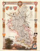 Buckinghamshire Reproduction Antique Map, Retro Reproduction Buckinghamshire Map, Thomas Moule Maps