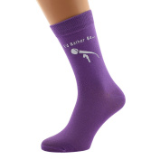 I'd Rather be Singing with Microphone Image Printed in White on Ladies PURPLE Socks Great Mothers Day Present