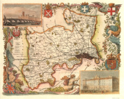 Middlesex Reproduction Antique Map, Retro Reproduction Middlesex Map, Thomas Moule Maps