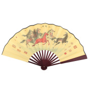 sourcingmap® Bamboo Frame Ancient Chinese Eight Horses Idiom Painting Straight Rod Handheld Folding Fan