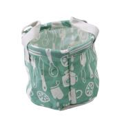 HENGSONG Cartoon Pattern Desktop Storage Basket Round Comestic Pouch Storage Toys Organiser, Green