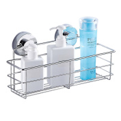everso Shower Caddy Basket Strong Suction Stainless Steel Storage Shower Organiser 30x11x12cm