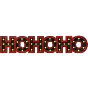 WeRChristmas Pre-Lit LED Ho Ho Ho Sign Christmas Decoration, Wood, 76 cm - Large, Red