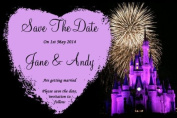 10 x Personalised Disney Castle Fireworks Wedding Save The Date Cards