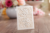 10 x Petals Mini Ivory Laser Cut Pearlescent Pocket Wallet Laser Cut Wedding Invitation, RSVP, Save the Date, Lottery Ticket Holder