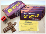 9 x Personalised 114g Galaxy Milk Chocolate Bars WONKA STYLE WEDDING OR BIRTHDAY INVITATIONS ~ N55