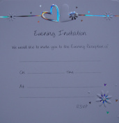 Pack of 10 Luxury Silver Foiled Wedding Evening Invitations - Flower & Hearts