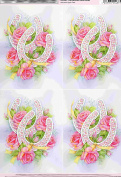 2 sheets wedding horseshoe and roses, wedding theme decoupage sheets, ideal for arts and crafts, card, invitations, framing, dolls houses and lots more etc