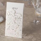 10 x Laser Cut Wedding Invitations Elegant Holographic Rose White Laser Cut Invitation With Inserts and Envelopes