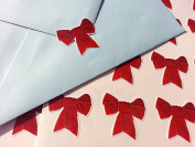 40 decorative Ribbon Bow style envelope seal stickers - Red